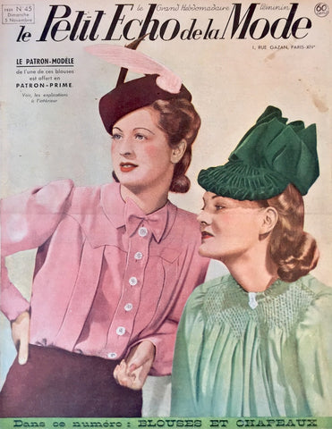 November 1939 French Fashion Paper Le Petit Echo de la Mode