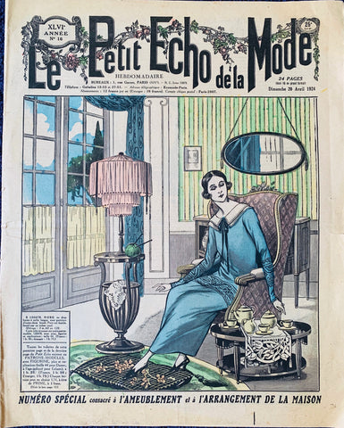 Knitting and Tea... 1924 French Fashion Paper Le Petit Echo de la Mode