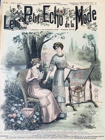 Crafts in the Garden and Weddings in the Autumn in Sept. 1910 French Fashion Paper Le Petit Echo de la Mode