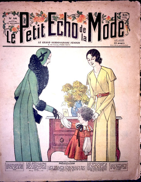 November 1931 French Fashion Paper Le Petit Echo de la Mode with Crafts page