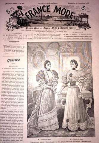 November 1893 - 2 French Fashion Papers FRANCE MODE Gorgeous Illustrations