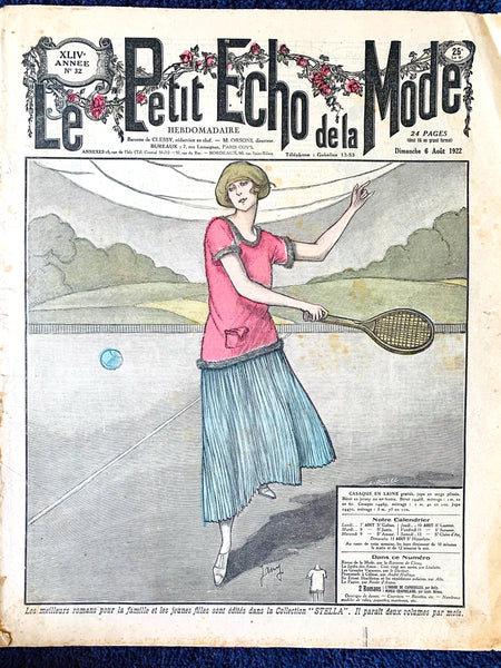 Exceptionally Practical Tennis Playing Outfit ... 1922 French Women's Paper Le Petit Echo de la Mode