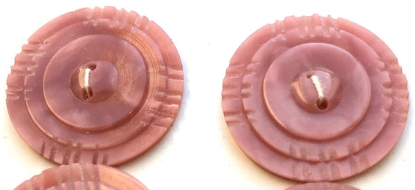 Venetian Pink 1940s Buttons - British - 2.8 or 1.8cm wide.