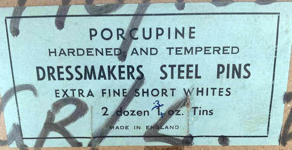 PORCUPINE Hardened and Tempered British Extra Fine Short White Dressmakers Steel Pins