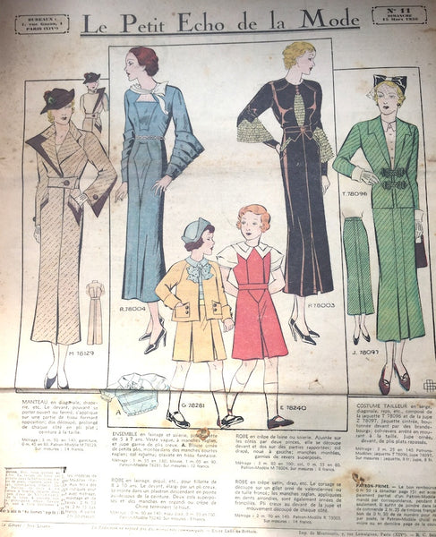 15th March 1936 Spring Sports wear in French Fashion Paper Le Petit Echo de la Mode