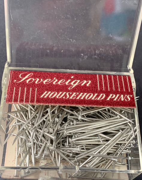 "Handy box of 1950s 1"" Household Pins"