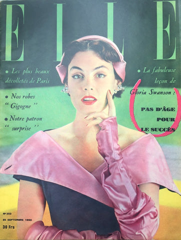 Gloria Swanson in Sept 1950 issue of French ELLE Fashion Magazine