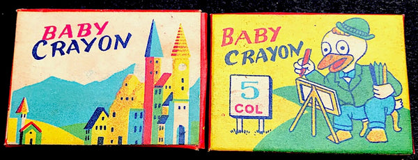 2 Vintage Boxes of Tiny BABY Wax Crayons Old Shop Stock