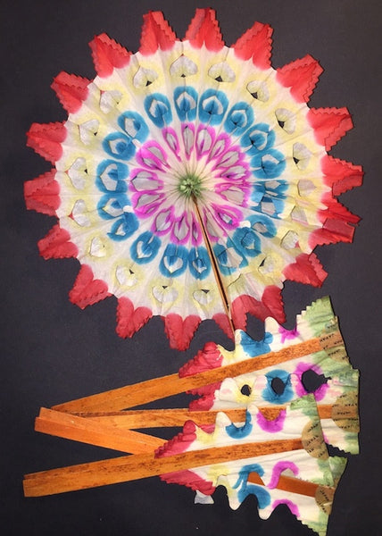 5 Vibrant Vintage and Eternally Reusable 1950s Paper Fan Decorations 15cm Made in Japan