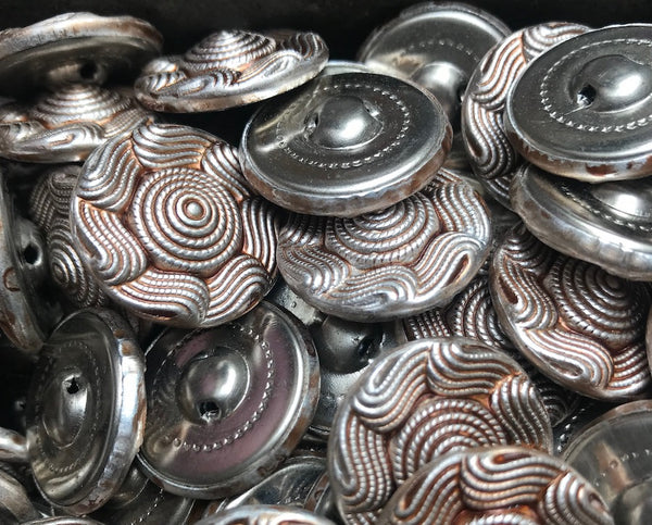 1 Gross -144 - VINTAGE Swirly Metal Buttons - 2.3cm wide