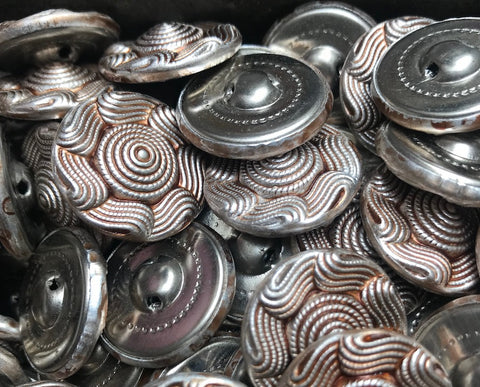 1 Gross -144 - VINTAGE Bronze Tint Swirly Metal Buttons - 2.3cm wide