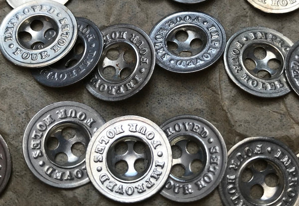 36 IMPROVED FOUR HOLES Vintage Metal 1.5cm Buttons