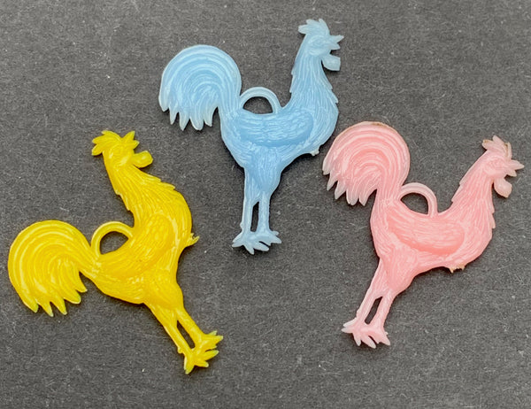 3 Noble Cockerel Rooster Chicken Charms - 2cm