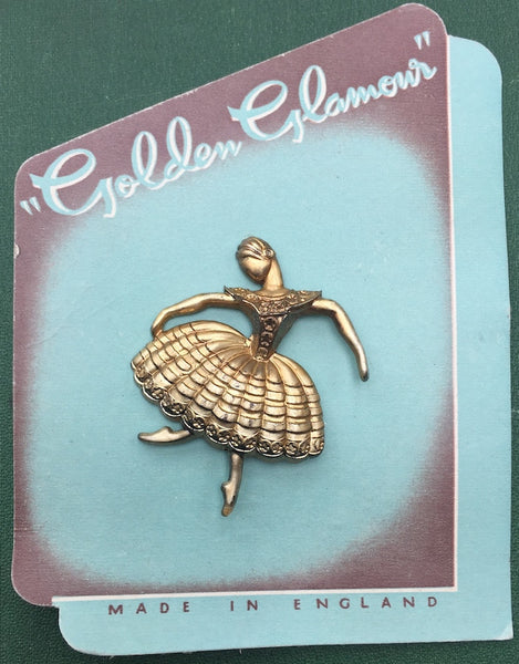 "1940s ""Golden Glamour"" Ballerina Brooch Made in England"