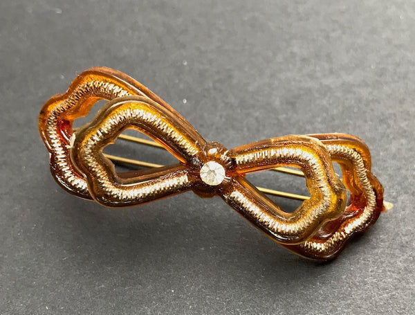 Gorgeous 1940s Lucite + Diamante Bow Hair Grip