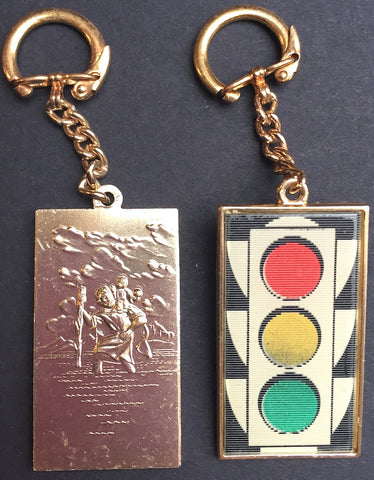 Colour Changing Traffic Lights AND a St Christopher...This Vintage Keyring has it Covered...