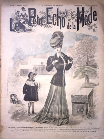 Little Girl with Toy Car & Wedding Dresses in 18th November 1906 French Fashion Paper Le Petit Echo de la Mode