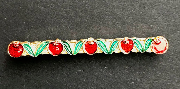 Delightful Vintage 1950s Enamel Cherries Hair Grip