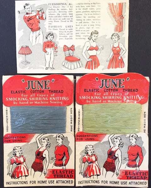Evocative Mint Condition 1940s Elastic Thread Display Card