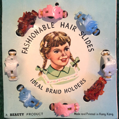 Happy Vintage 1940s/50s Shop Display Card of Bird Hair Slides