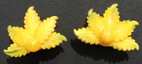 Pretty Sunny Yellow 1950s Clip-on Earrings