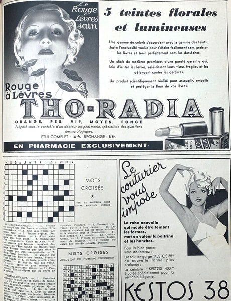 October 1937 issue of French MARIE CLAIRE incl THO-RADIA - Radioactive Cosmetics -Advert