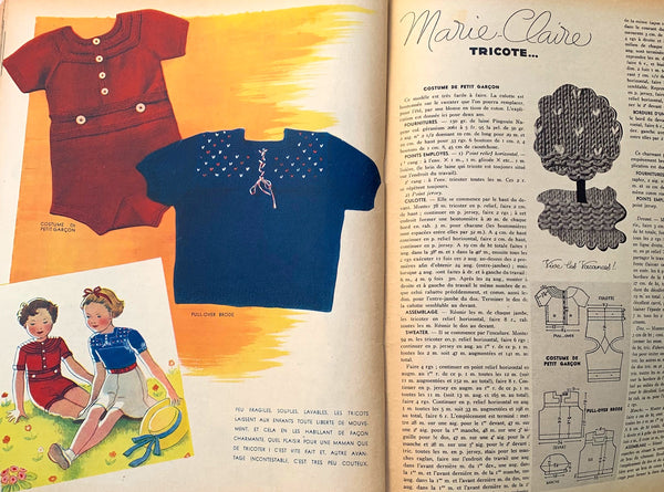 Swimsuits  Holiday Wear in July 1937  Issue No 18 of French MARIE CLAIRE