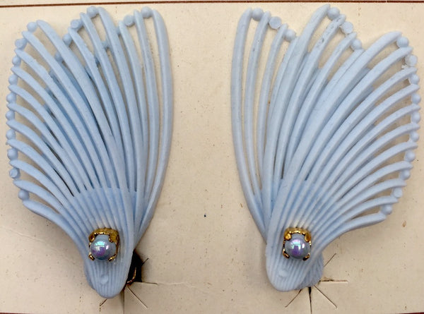 Pearl Centred 1950s Wing Shaped clip on Earrings