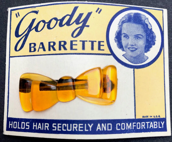 Sunny Golden Yellow 1950s Lucite Bow Hair Clip