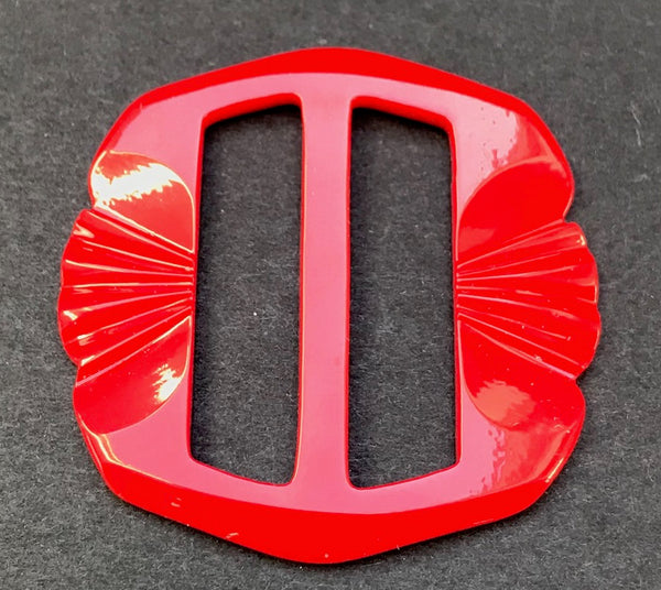 Bright Red Deco 1940s Galalith 4.5cm Belt Buckle