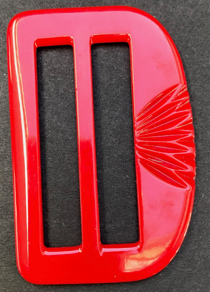 BIG 6.8cm Red 1940s Galalith / Casein  Belt Buckle