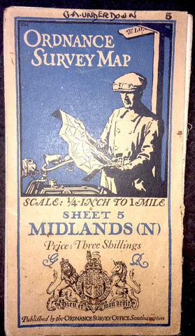 Fascinating 1923 ORDNANCE SURVEY Contoured MAP of MIDLANDS (N) - 1/4 Inch to 1 Mileto 1 Mile