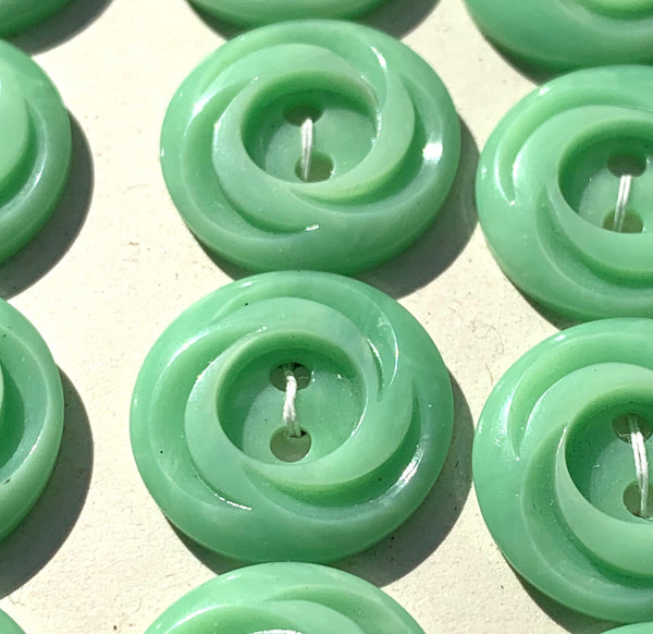 Swirly Lime Green 1.7cm Vintage Casein Buttons