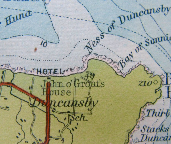 1921 Map of Caithness including John o' Groats