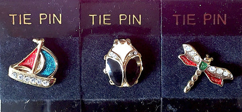 Gorgeous Vintage Enamel & Diamante Tie Pins - Choice of 3 designs
