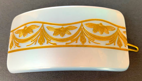 Wonderfully Deco White Lucite and Gold French Hair Clip