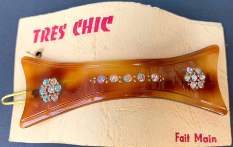 TRES CHIC French Lucite Tortoiseshell and Diamante 1940s Hair Clip