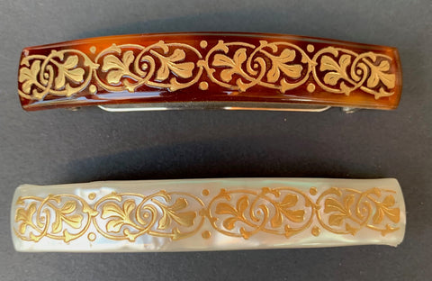 Intertwined Gold Leaf Pattern on 1940s French Lucite Hair Clips