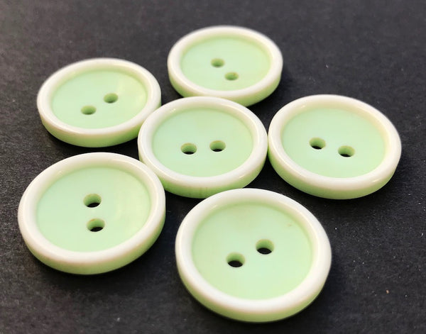 6 Fresh Pale Green and White 1.8cm Vintage Buttons