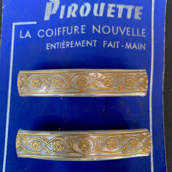 Pretty Pearly White & Gold Vintage French 6cm Hairclip with strong Clip