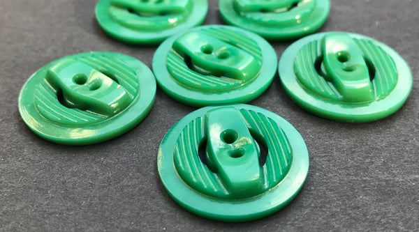 6 Ambitious Green Vintage  Buttons 1.8 or 2.2cm