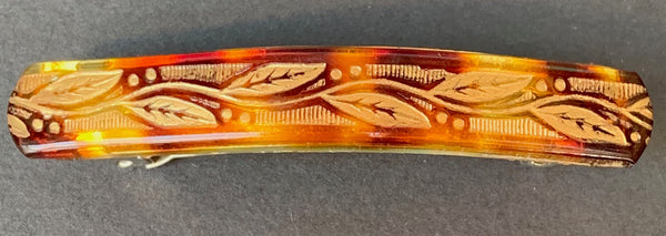Lovely Little Leaf Tortoiseshell Lucite 5cm Vintage Hair Clip