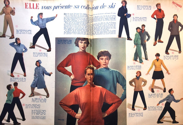 Fantastic 1940s Ski Wear in Nov 1949 ELLE French Fashion Magazine
