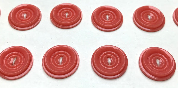 36 Coral Pink Simple and Satisfying Vintage 1.4cm  Casein Buttons