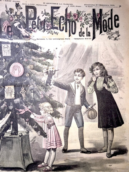 Early 20th C Christmas Tree on 19th December 1909 French Le Petit Echo de la Mode