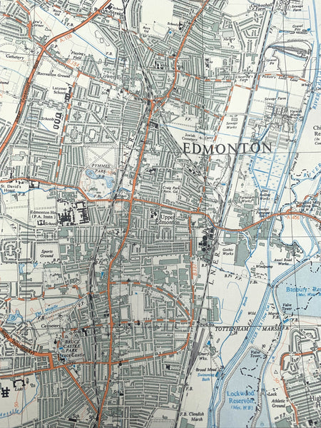 "1947 ORDNANCE SURVEY MAP of  ENFIELD CHINGFORD WOOD GREEN EDMONTON 2.5"" to 1 Mile"