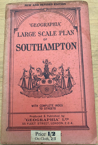 "1930s Geographia Map ""LARGE SCALE PLAN of SOUTHAMPTON"""