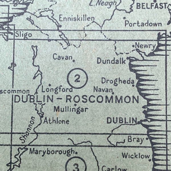 "Rare 1940s Map of Dublin and Roscommon - Bartholomew's 1/4"" on Cloth"