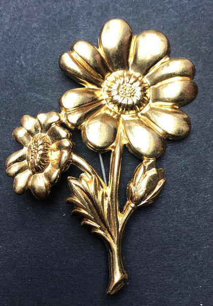 Unashamedly Big and Gold 1940s Vintage Flower Brooch