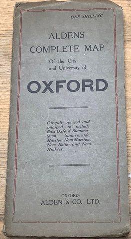 1930s Aldens' 'Complete  Map of the City and University of OXFORD""